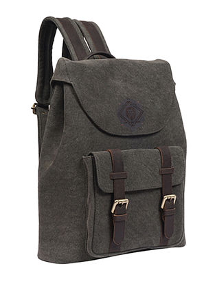 Olive Handcrafted Denim and Leather Backpack