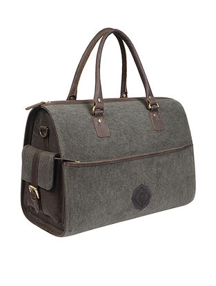 Olive Handcrafted Denim and Leather Duffle Bag