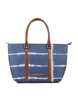 Indigo-Brown Cotton and Leather Tote