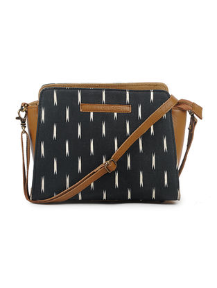 Black-Tan Cotton and Leather Sling Bag