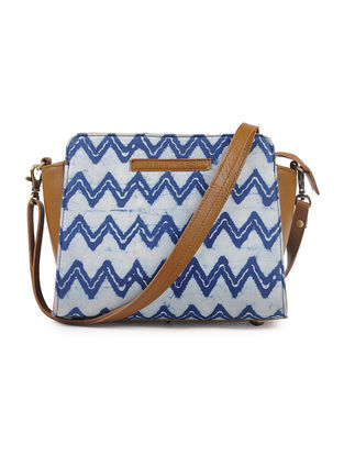 Indigo-Tan Cotton and Leather Sling Bag