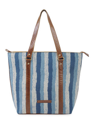 Indigo-Brown Striped Cotton and Leather Tote