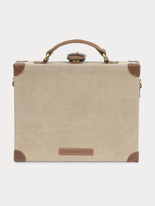 Cream Handcrafted Canvas and Leather Box Bag