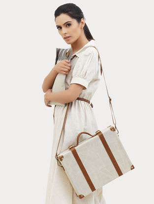 Off-white Handcrafted Canvas and Leather Briefcase Bag with Laptop Sleeve