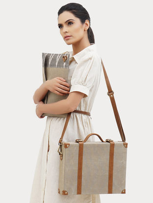 Cream Handcrafted Canvas and Leather Briefcase Bag with Laptop Sleeve