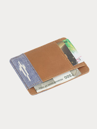 Tan-Blue Handcrafted Ikat Cotton and Leather Mini Wallet
