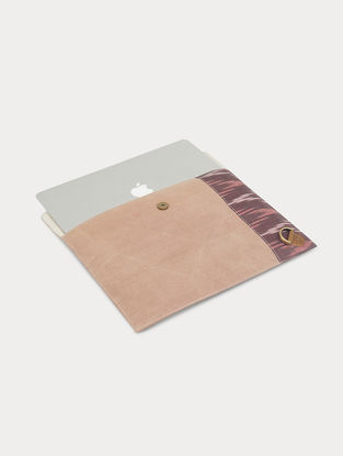 Pink Handcrafted Canvas and Leather Laptop Sleeve