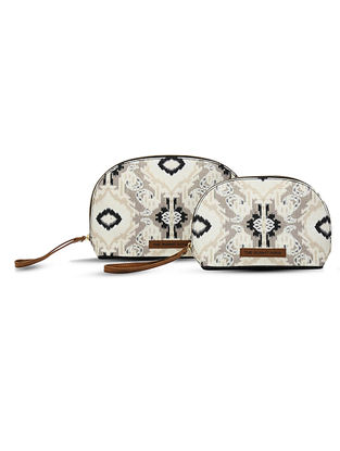 Ivory-Black Digital-Printed Canvas and Leather Pouch