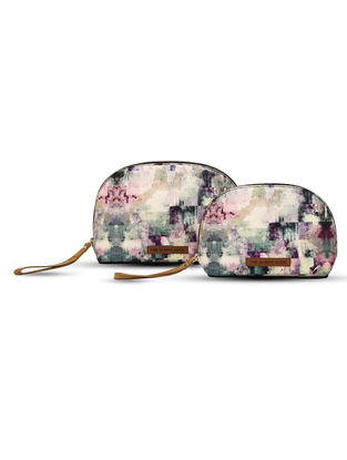Multicolored Digital-Printed Canvas and Leather Pouch