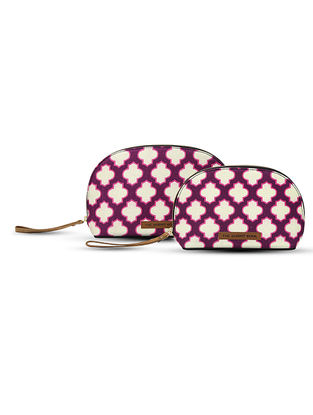 Pink-Purple Digital-Printed Canvas and Leather Pouch