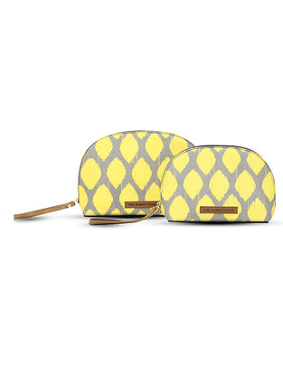 Yellow-Grey Digital-Printed Canvas and Leather Pouch