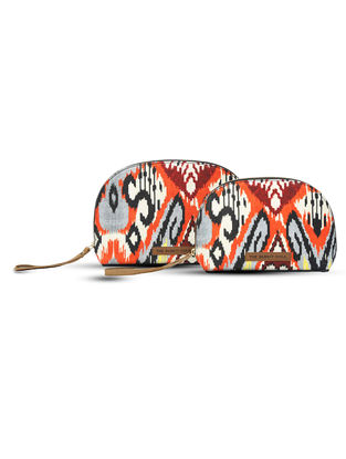 Orange-Multicolored Digital-Printed Canvas and Leather Pouch