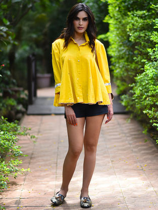 Yellow Pleated Embroidered Khadi Top
