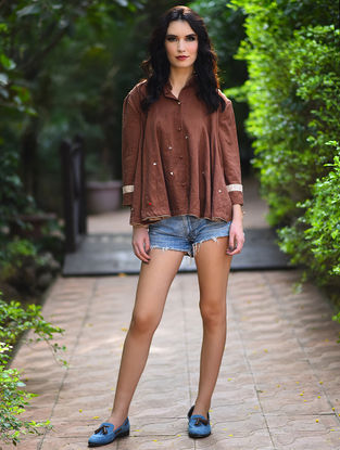 Brown Pleated Embroidered Khadi Top