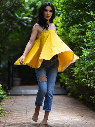 Yellow Embroidered Khadi Top