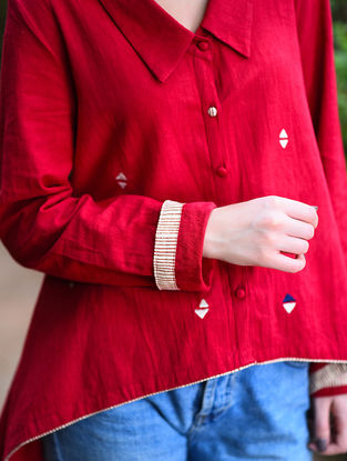 Red Embroidered Khadi Top with Asymmetrical Hem