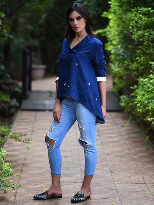 Blue Embroidered Khadi Top with Asymmetrical Hem