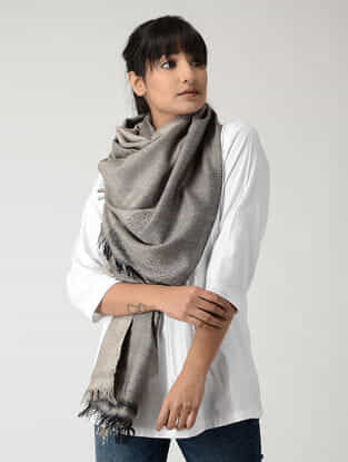 Grey Silk Pashmina Stole