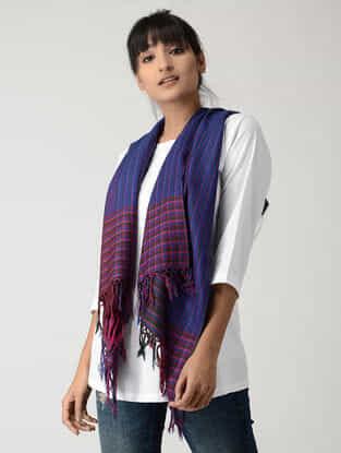 Blue-Pink Silk Pashmina Stole