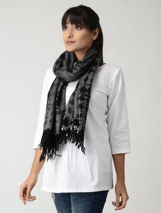 Black-Grey Tie & Dyed Woolen Stole