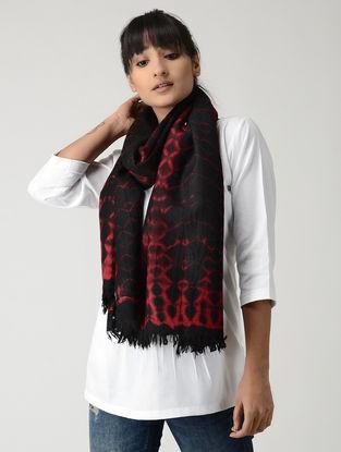Black-Red Tie & Dyed Woolen Stole