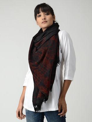 Black-Maroon Tie & Dyed Woolen Stole
