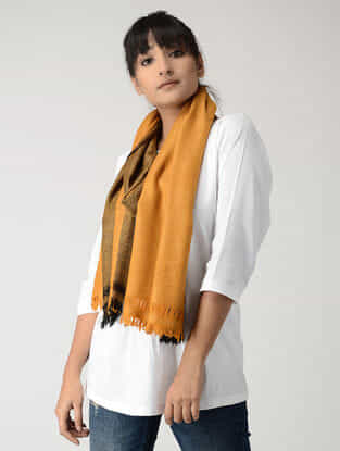 Mustard-Black Angora Wool-Silk Stole