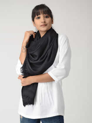 Black Angora Wool-Silk Stole