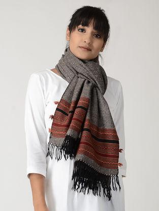 Grey-Maroon Angora Woolen Stole