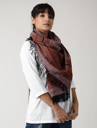 Maroon-Black Angora Woolen Stole