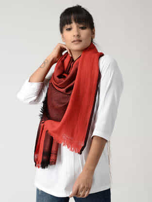 Red-Black Woolen Stole