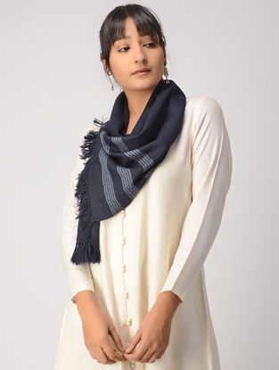 Blue-Ivory Woolen Muffler