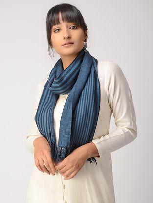 Blue-Black Striped Woolen Muffler