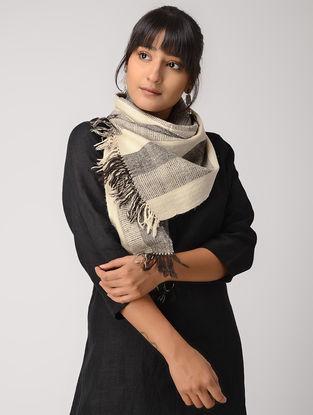 Ivory-Black Yak Wool Muffler