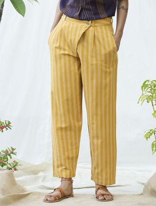 Yellow-White Handwoven Khadi Cotton Pants