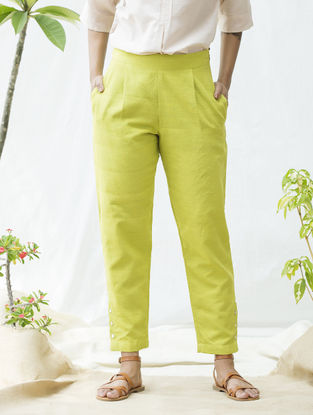 Green Handwoven Khadi Cotton Pants