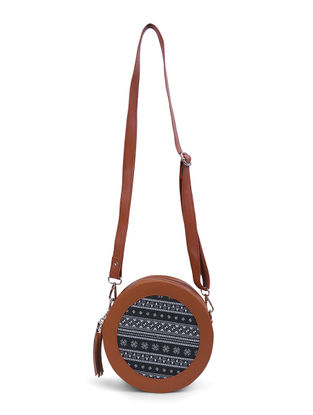 Blue-Brown Canvas and Leather Sling Bag