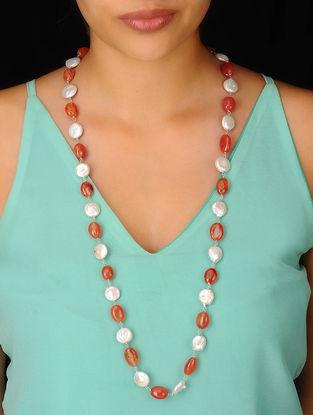 Pearl-Carnelian Long Silver Necklace