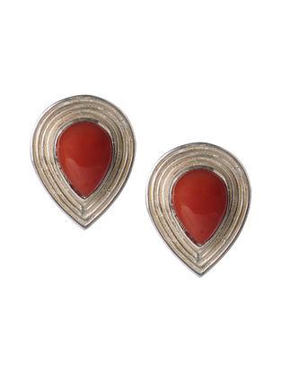 Red Onyx Silver Stud Earrings
