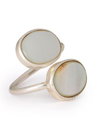 Mother of Pearl Silver Adjustable Ring