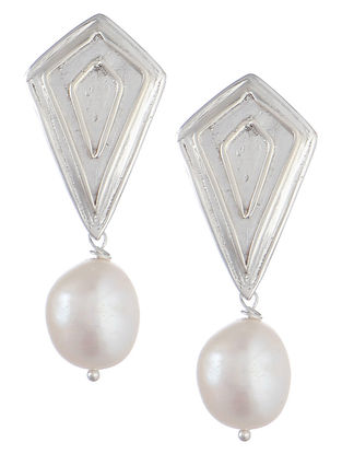 Geometric Silver Pearl Earrings