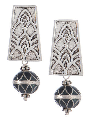 Embossed Meenakari Silver Earrings