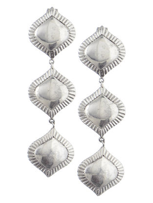 Flare Layered Drop Silver Earrings