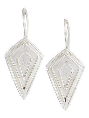 Geometric Silver Hook Earrings