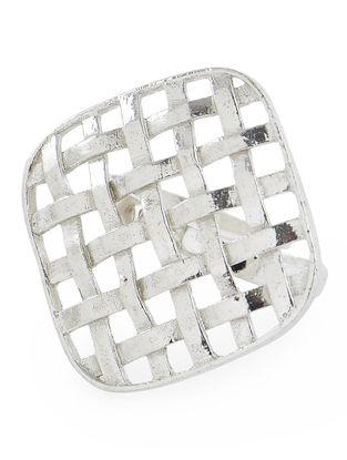 Woven Adjustable Silver Ring