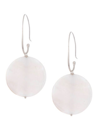 Mother Of Pearl Drop Silver Earrings by Benaazir