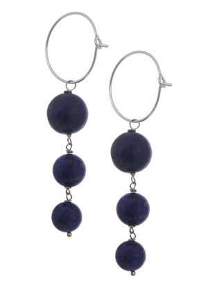 Lapis Lazuli Hoop Silver Earrings by Benaazir