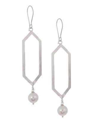 Pearl Geometric Silver Earrings by Benaazir