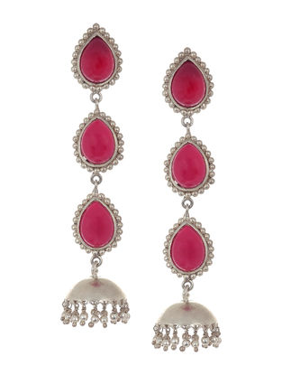 Classic Pink Chalcedony Silver Drop Jhumkis