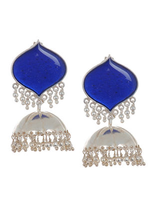 Classic Blue Enameled Silver Drop Jhumkis